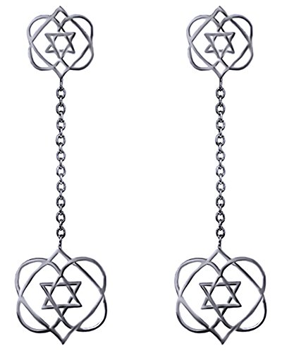 Mothers Day Jewelry Gifts Hanukkah Holy Day Sale The Heart Star Of David Dangle Drop Earrings in 14k White Gold Over Sterling Silver