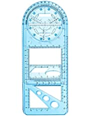 Abimy Geometric Drawings Templates Measuring Rulers,Multifunctional Geometric Ruler,Geometric Drawing Template Measuring Tool for School Office Supplies