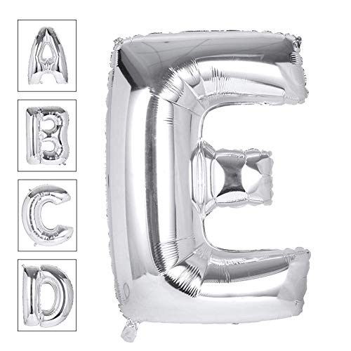 Lovne 40 Inch Jumbo Silver Alphabet E Balloon Giant Prom Balloons Helium Foil Mylar Huge Letter Balloons A to Z for Birthday Party Decorations Wedding Anniversary