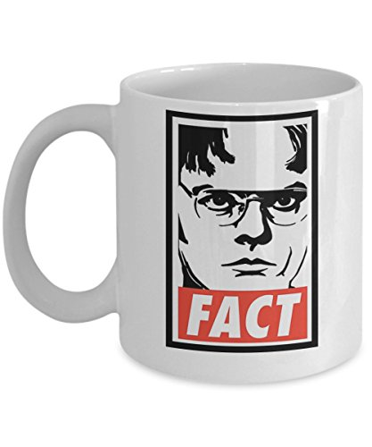 Dwight Schrute FACT By Trinkets & Novelty The Office Merchandise. This 11-oz Tv Show Inspired Michel Scott Dwight Jim The Office Coffee Mug is Perfect for any Dunder Mifflin Employee