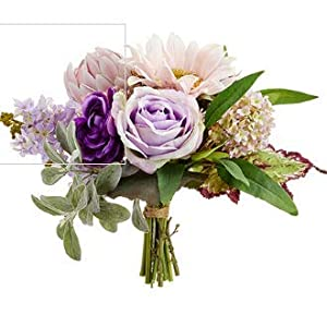 "Rose, Sunflower, Protea Bouquet 11"" in Pink and Lavender 103"