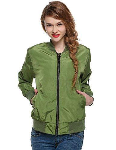 Celltronic Ladies Short Outerwear Women's Sport Casual Zip up Biker Bomber Jacket(Army Green,M)