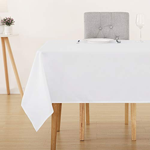 (Deconovo White Oxford Tablecloths Rectangular Water Wrinkle Resistant Tablecloth for Outdoor Picnic 60 x 84 Inch White)
