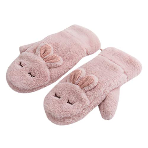 Gloves Women Fingerless,Exfoliating Gloves,Gloves For Men,Christmas Gloves Bulk,Rabbit Gloves Mittens For Women Fur Warm Wool Glove,Pink,M