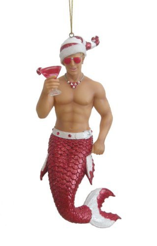 (December Diamonds Candy Cane Merman with Drink Christmas Ornament 5590718 New )