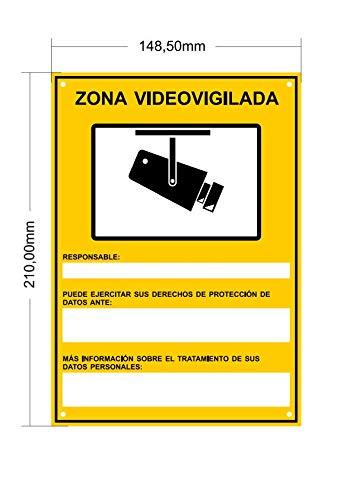 tualarmasincuotas.es ▶ Nuevo Modelo HOMOLOGADO Cartel Zona Videovigilada A5 Interior/Exterior, Cartel Disuasorio PVC expandido, Placa Disuasoria 21x15 ...