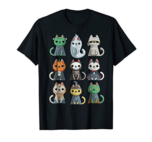 Mens Cute Cat Halloween T-Shirt Funny Halloween Gift Shirt Large Black -