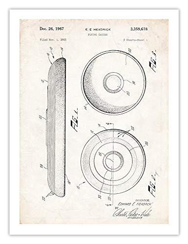 (Steves Poster Store Frisbee Flying DISC Sports Toy Patent Art Print 1967 HEADRICK Flying Saucer Gift UNFRAMED (24