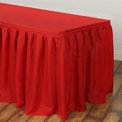 - Finaldealz Satin Table Skirt for Wedding Party Event Decoration Gathered Lamour Satin Skirt - 14 ft. Red