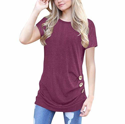 TUDUZ Newest Creative Design Women Simple Casual Short Sleeve Loose Button Trim Blouse Solid Color Round Neck Tunic T…