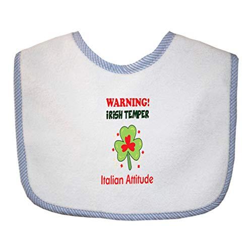 (Warning Irish Temper - Italian Attitude Cotton Boys-Girls Baby Terry Bib Gingham Trim - Blue, One)