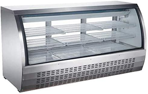 """New 82"""" Curved Glass Refrigerated Deli Case - Meat or Seafood Display Showcase"""