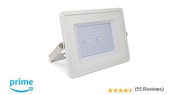 ZONE LED - 100W - Led Foco, Proyector Led - Luz Blanca Natural (4000K) - 8500 Lm - Equivalente incandescente 500W - Ángulo de haz 110° - Cuerpo blanco ...