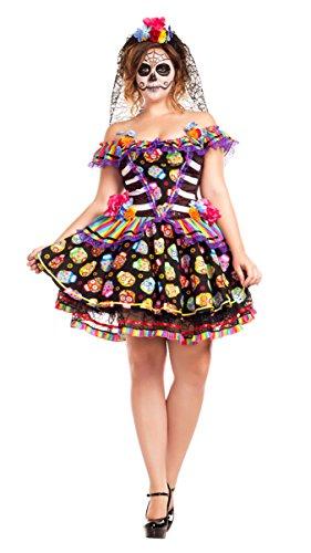 Party King Women's Sugar Skull Senorita Plus Size Costume, Black/Multi, 3X-Large]()