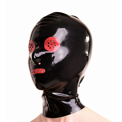 Yilen Latex Hood Unisex bdsm Bondage Hood with Red Color Perforated Open for Mouth and Eyes with Nostril Deadpool Mask (One Size, Black without zipper) -