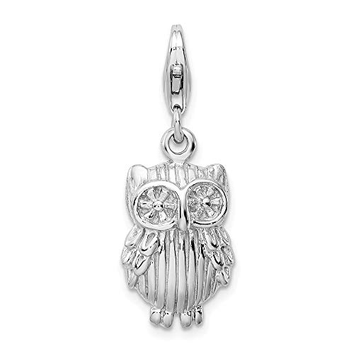925 Sterling Silver Rhodium-plated Owl Charm