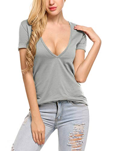 - Beyove Choker Tops for Women Deep Plunge Sexy Tee Shirts Light Grey