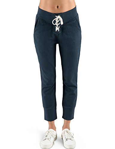Rebel+Canyon+Young+Women%27s+Light+Weight+French+Terry+Lace+Up+Front+Jogger+Sweatpant+X-Small+Navy