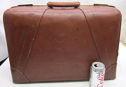LG Vintage Classic Doctors Brown Cowhide Leather Satchel Travel Suitcase 1940s