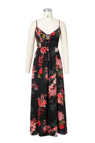 di Rcdxing Swing Big Dress abbigliamento Dress Print Dress Deep Tied Capi Dress Halter boemo Fashion Neck Black Abito V r0w1arqx