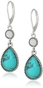 """NINE WEST VINTAGE AMERICA """"Along The Shore"""" Worn Silver Tone Turquoise Double Drop Earrings"""