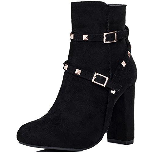 Block Ankle Boots Style Black Women's SPYLOVEBUY Pumps Buckle EMERY Heel Suede wqAYPPxtX