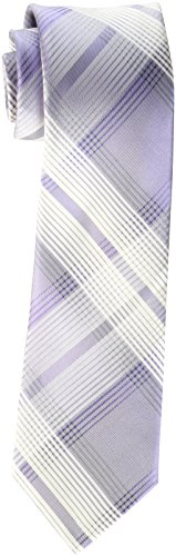 Calvin Klein Men's Luxe Grid Tie, Lilac, One Size