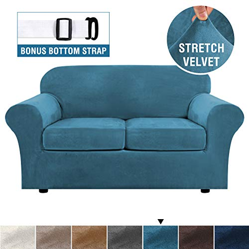 Real Velvet Plush 3 Piece Stretch Sofa Cover Velvet-Sofa Slipcover Loveseat Cover Furniture Protector Couch Soft Loveseat Slipcover for 2 Cushion Couch with Elastic Bottom(Loveseat,Peacock Blue)