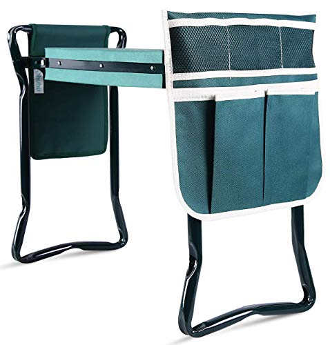 Ohuhu Garden Kneeler and Seat with Thicken & Widen Soft Kneeling Pad, Foldable Stool with 2 Bonus Tool Pouches
