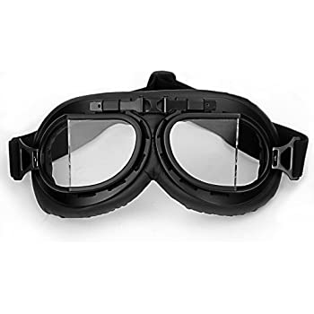 WWII RAF Vintage Pilot Style Black Frame Motorcycle Biker Cafe Racer Cruiser Helmet Goggles