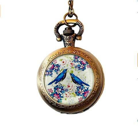 Love Bird Pocket Watch Necklace Charm BFF Birthday Gift For Girlfriend