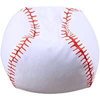 Transer Stuffed Animal Storage Bean Bag, Baseball Shape, Soft Pouch Fabric Chair, Toy Storage Solution For Blankets/Pillows/Covers/Towels/Clothes (Baseball, 26)