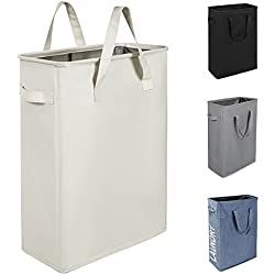 WISHPOOL Slim Waterproof Foldable Laundry Hamper Bag Handy Collapsible Oxford Cloth Basket Bin Organizer Sorter with Handle 15.2X8.5X21 Inch(Beige)