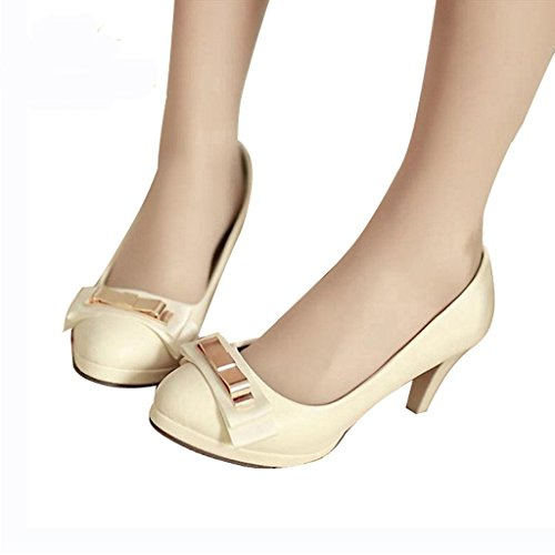 Dear Time Candy Sweet Womens Shoes Bowtie Pumps Round Toe Metal Decoration Beige QoHOXKjml