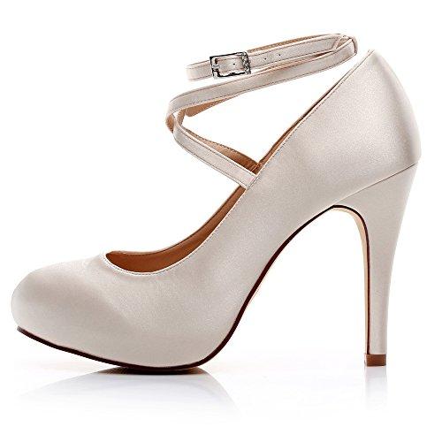 Zapatos De Boda De Satén Luxveer Zapatos De Vestir De Punta Cerrada Con Tirantes De Tobillo Zapatos De Novia Zapatos De Mujer Hight Heels 4.5 -2069 Champagne