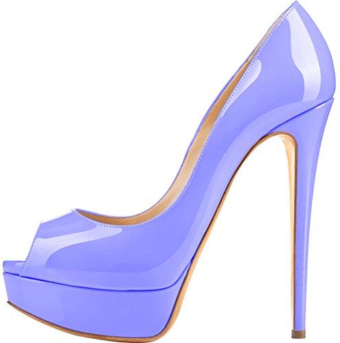 Trusify Mujer 15cm EU tamaño 34-46 Truthunder Tacón de aguja 15CM Sintético Sandalias de vestir Azul Light