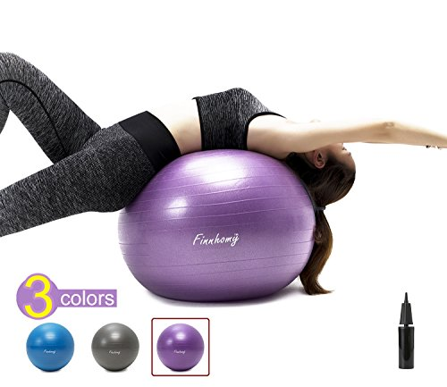 Finnhomy Exercise Ball (Multiple Colors) for Fitness, Stability, Gym, Balance & Yoga, Yoga Ball Chair, Balance Ball, Birthing Ball Swiss Ball Workout with Pump (Physical, Office, Home)