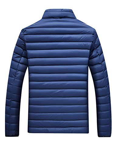 Quilted Yeokou Blue Jacket Puffer Coat Fit Slim Down Men's Short weight rqrIC
