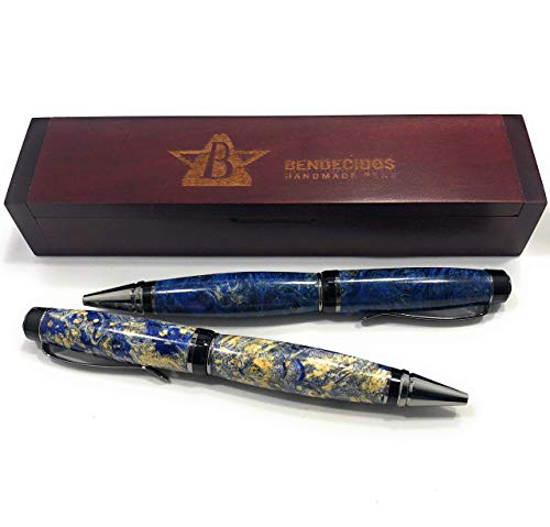 Bendecidos Pens - Blue Maple Burl Partagas Pen - Black Titanium by Bendecidos Pens (Image #2)