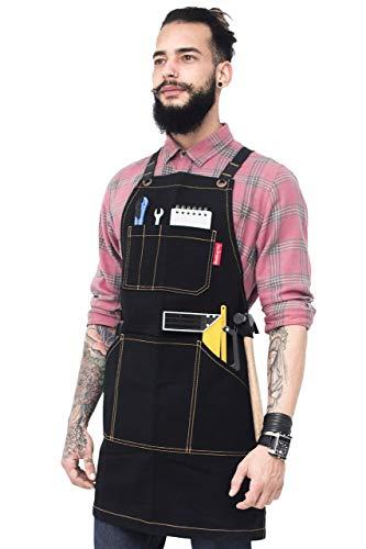 Essential Black Apron - Heavy Duty Waxed Canvas, Cross-Back with Split-Leg, Leather Reinforcement - Adjustable for Men, Women, Pro Mechanic, Welding, Woodwork, Blacksmith, Server Aprons