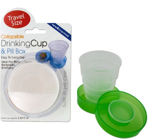 Collapsible Drinking Cup & Pill Box Case Pack 12