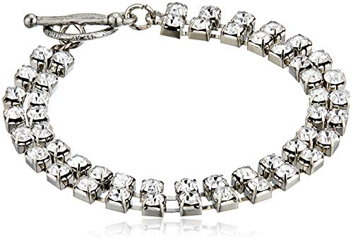 1928 Jewelry Silver-Tone Clear Crystal 2-Row Rhinestone Toggle Link Bracelet