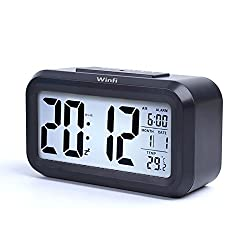 Alarm Clock, winfi Large LCD Display Digital Alarm Easy to Watch and Set ,Low Light Sensor Technology Soft Night Light Repeating Snooze Temperature Display & Month Date,Battery Operation (a)