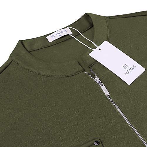 Bulotus Women's Plus Size Solid 3/4 Sleeve Zipper Top Casual Shirt,Green,XX-Large by Bulotus (Image #5)