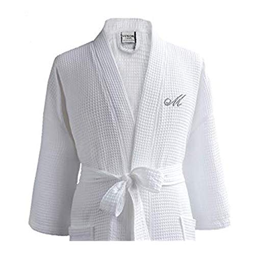 Luxor Spa - Luxor Linens - Waffle Robe Bathrobe Set - 100% Egyptian Cotton - Unisex/One Size Fits Most - Spa Robe, Luxurious, Soft, Plush -(1 pc, White w/Custom Monogramming)