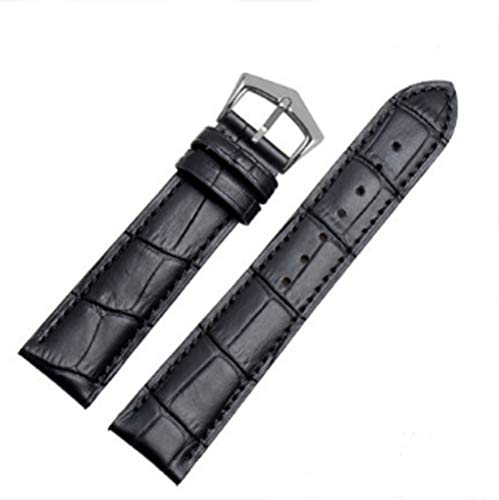 18mm19mm 20mm 21mm Black/Brown Leather Watch Band Strap Buckle for Patek Philippe Watch (20mm, Black(Black line)(Silver Buckle))