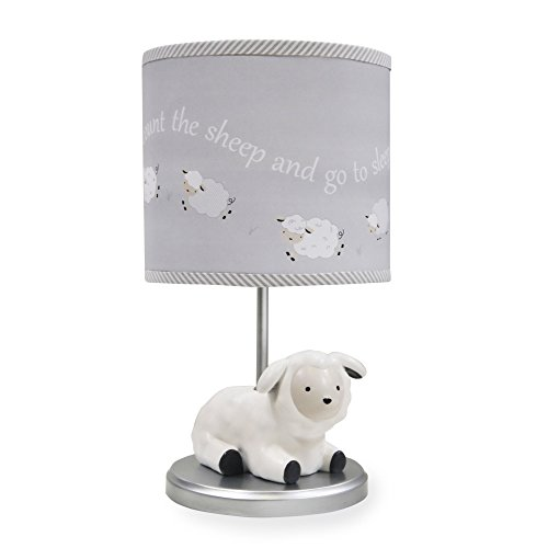 Lambs Sheep Lamb - Lambs & Ivy Signature Goodnight Sheep Lamp with Shade & Bulb - Grey/White