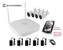 ShinraTech WIFI Security System - 4 Channel NVR & 4 x 2560x1440 4MegaPixel IP WIFI Cameras with No Hard Drive