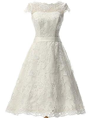 JAEDEN Women's Vintage Lace Wedding Dress Short Bridal Gown Dresses With Sash