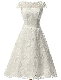 Wedding Dress with Sash Vintage Bridal Dresses Knee Length Lace Wedding Dresses for Bride
